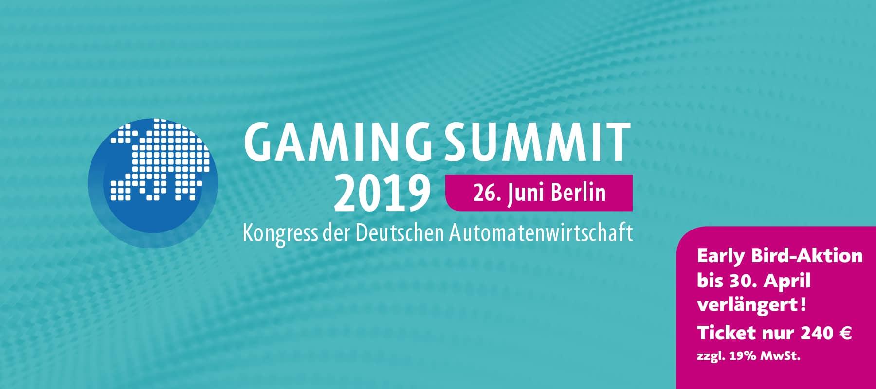 Grafik: Gaming Summit 2019 - Kongress der Deutschen Automatenwirtschaft, 26. Juni, Berlin
